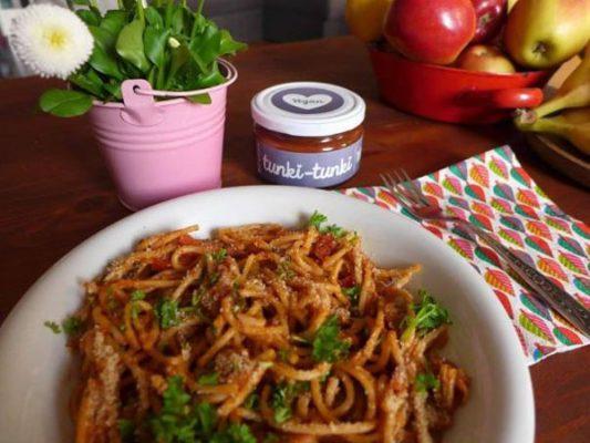 Spaghetti mit Pilzen und der Tunki-Tunki-wintersalsa